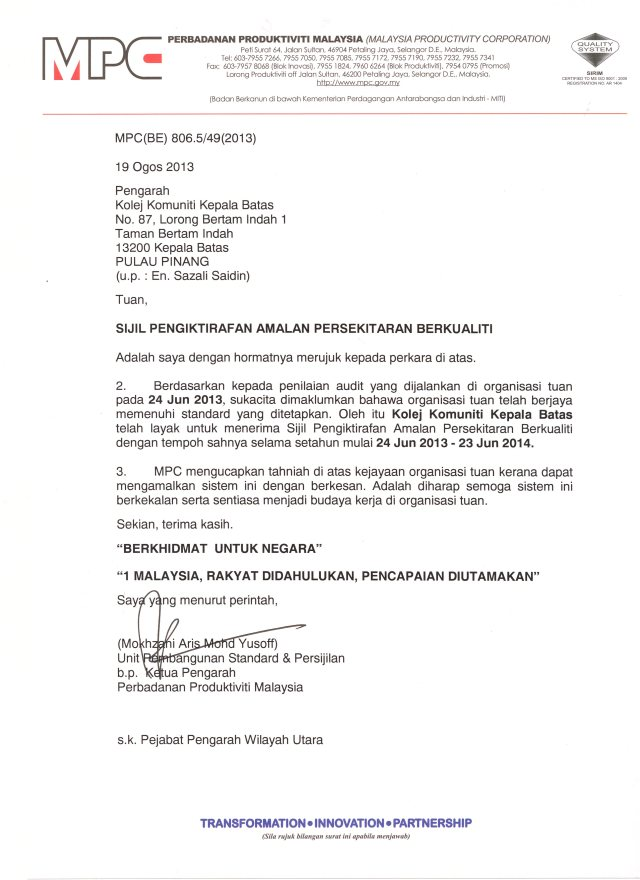 Surat Pengesahan MPC